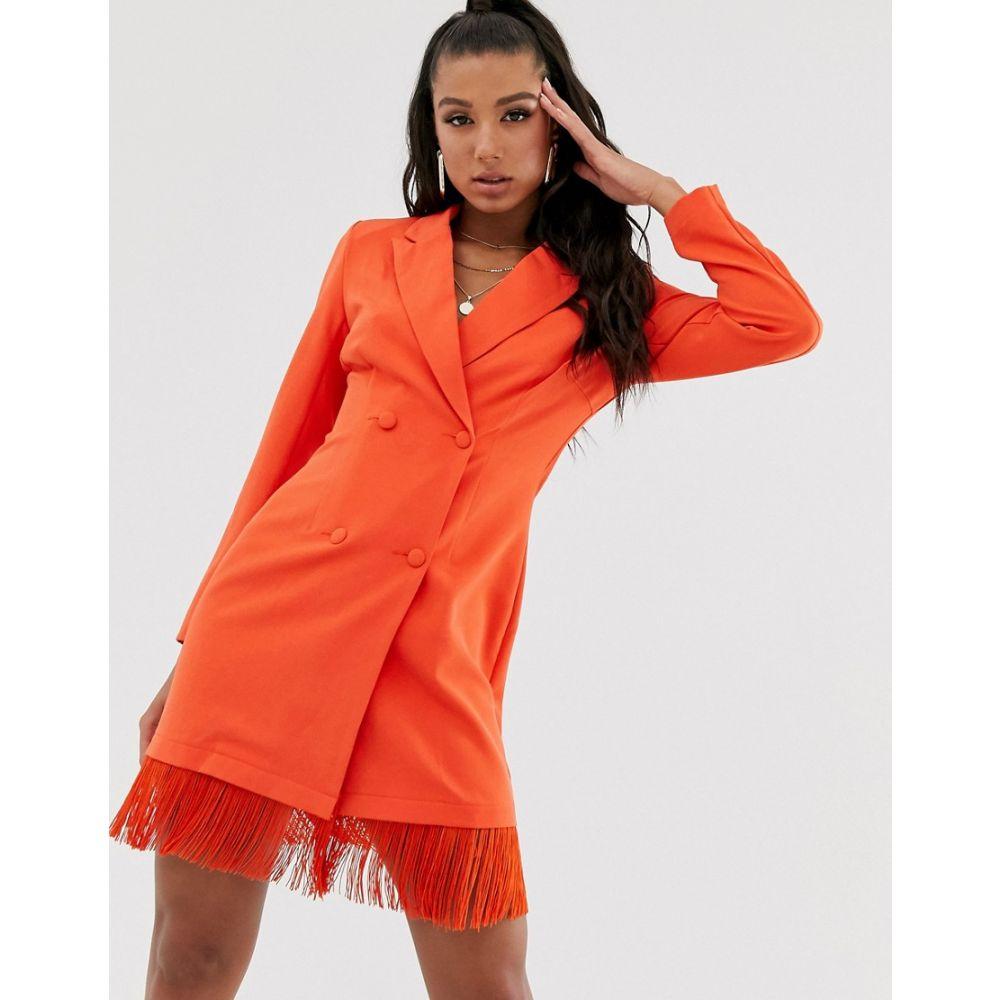 セイントジーニーズ Saint Genies レディース fringe ワンピース orange】Orange・ドレス ワンピース【blazer dress dress with fringe hem detail in orange】Orange, キャバ:441b4311 --- avtozvuka.ru