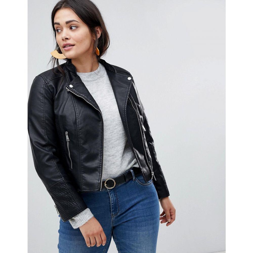 ヴェロモーダ Vero Moda Curve レディース アウター レザージャケット【Faux Leather Biker Jacket】Black