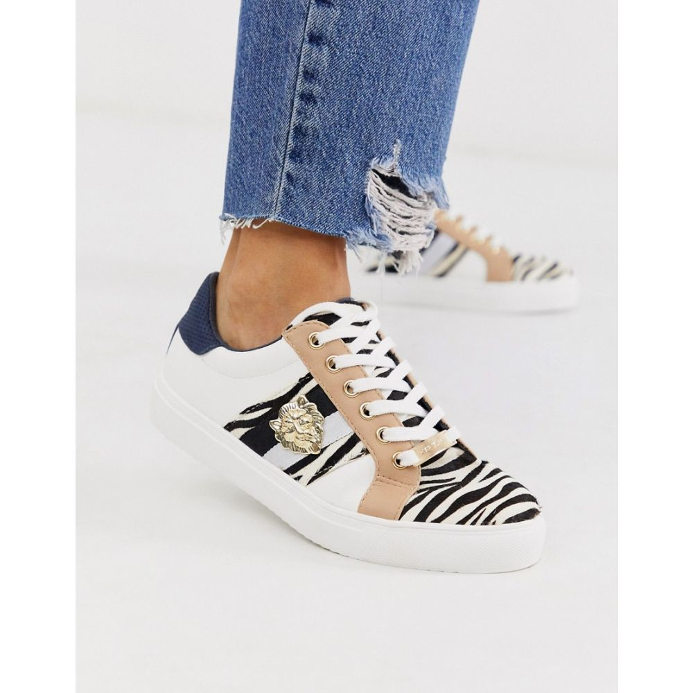 リバーアイランド River Island レディース シューズ・靴 スニーカー【lace up trainers with tiger detail in zebra print】White black print