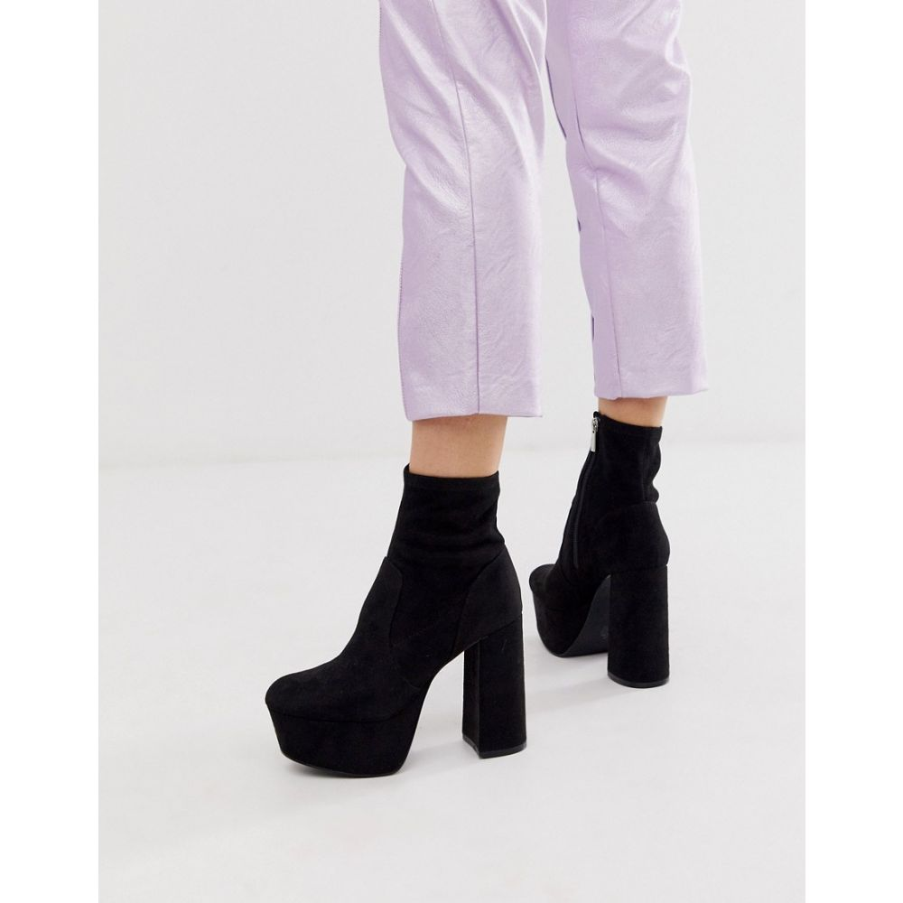 エイソス ASOS DESIGN レディース シューズ・靴 ブーツ【Entice platform sock boots in black】Black