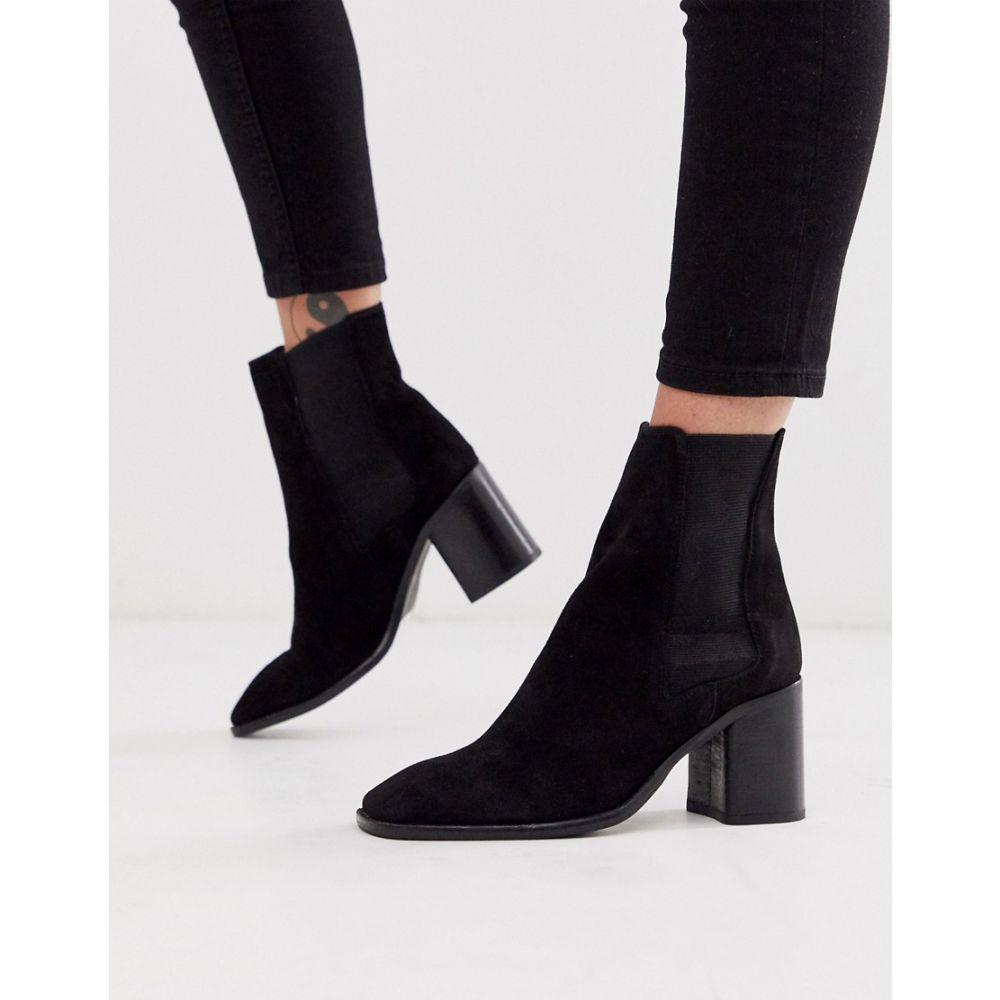 エイソス ASOS DESIGN レディース シューズ・靴 ブーツ【Reverse suede square toe chelsea boots in black】Black suede:フェルマート