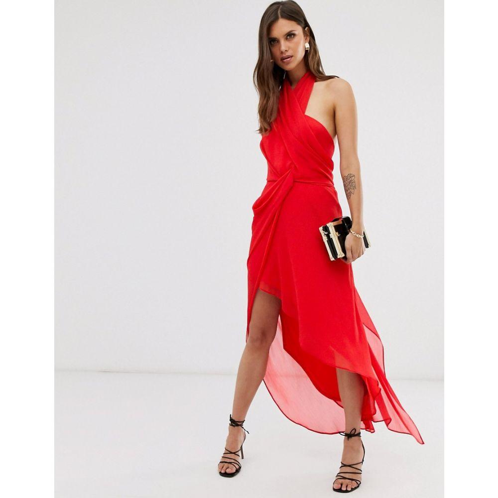 エイソス ASOS DESIGN レディース ワンピース・ドレス ワンピース【midi dress in soft chiffon drape with wrap neck】Red