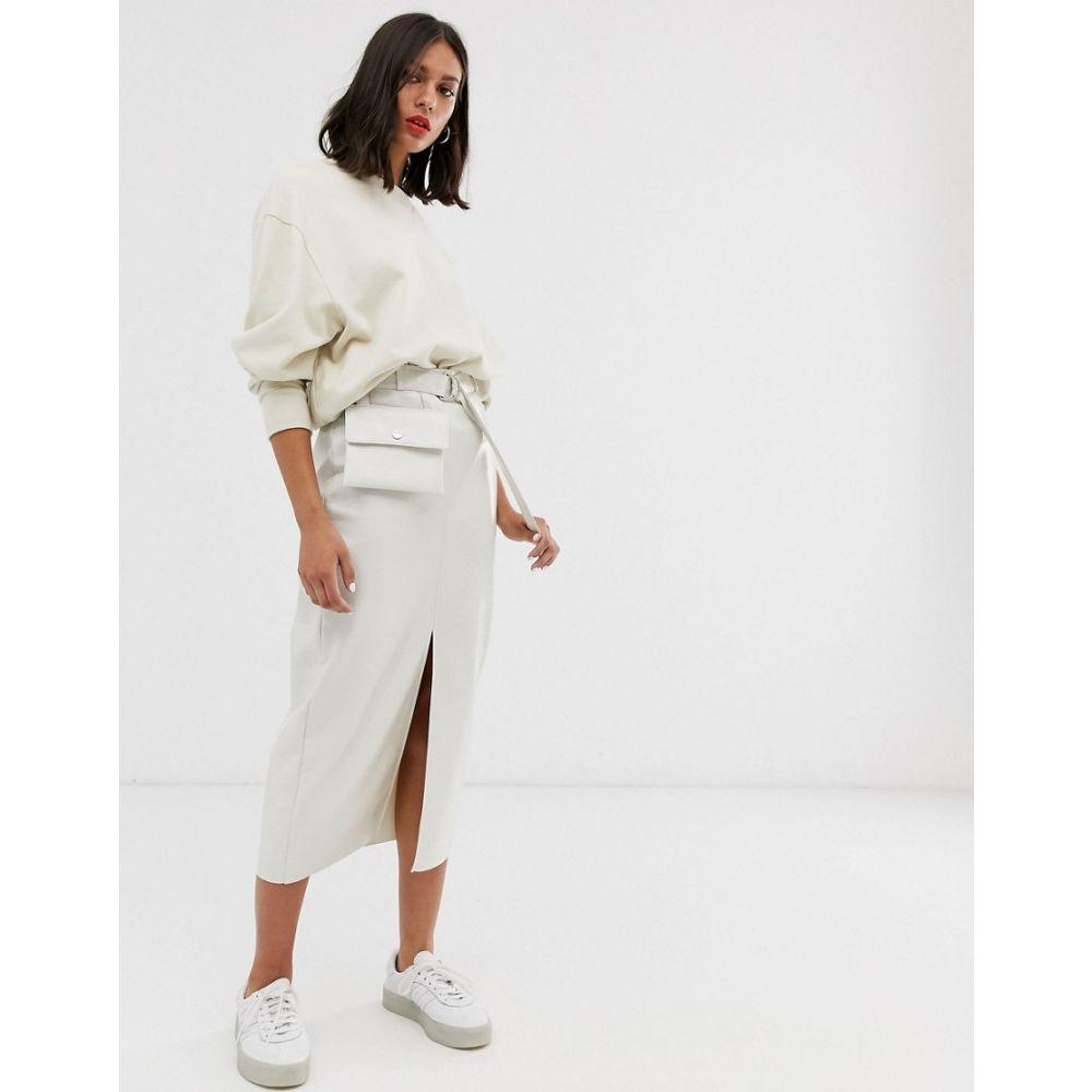 エイソス ASOS DESIGN レディース スカート ひざ丈スカート【vinyl pencil skirt with belt bag】Cream