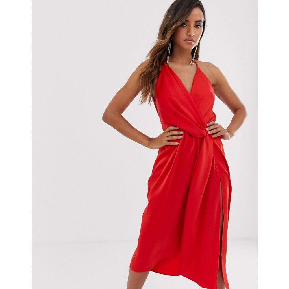 エイソス ASOS DESIGN レディース ワンピース・ドレス ワンピース【minimal drape midi dress in satin】Red