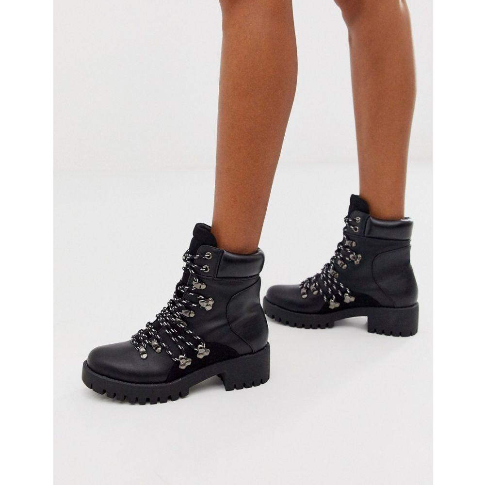 ミスガイデッド Missguided レディース ハイキング・登山 シューズ・靴【chunky hiking ankle boot with contrast laces in black】Black