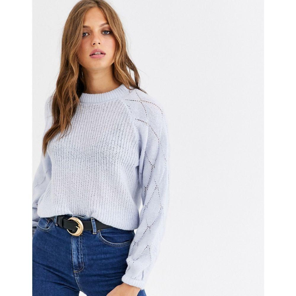 ワイ エー エス レディース トップス ニット・セーター Pastel blue 【サイズ交換無料】 ワイ エー エス Y.A.S レディース トップス ニット・セーター【fine knit jumper with volume diamond sleeve】Pastel blue