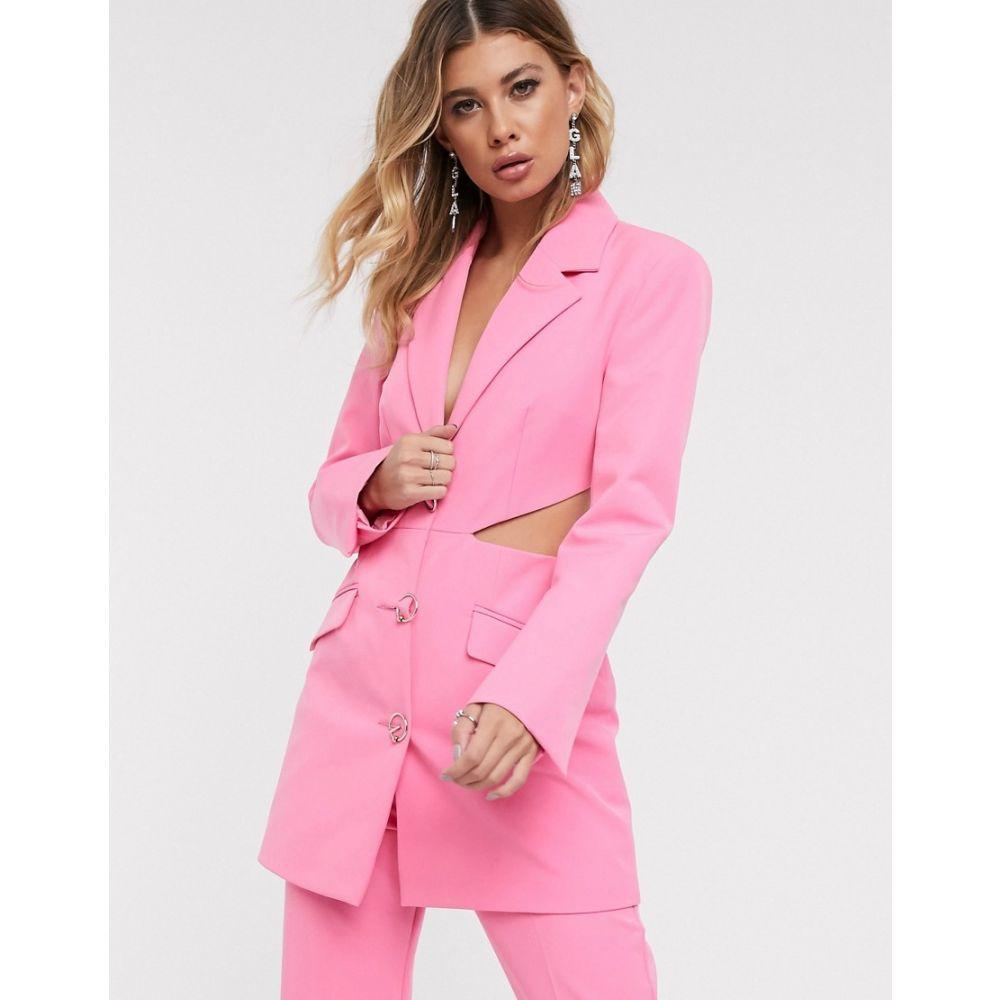 エイソス ASOS DESIGN レディース アウター スーツ・ジャケット【cut out side suit blazer with fancy buttons】Pink