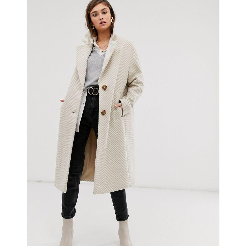エイソス ASOS DESIGN レディース アウター コート【textured longline coat in cream】Cream