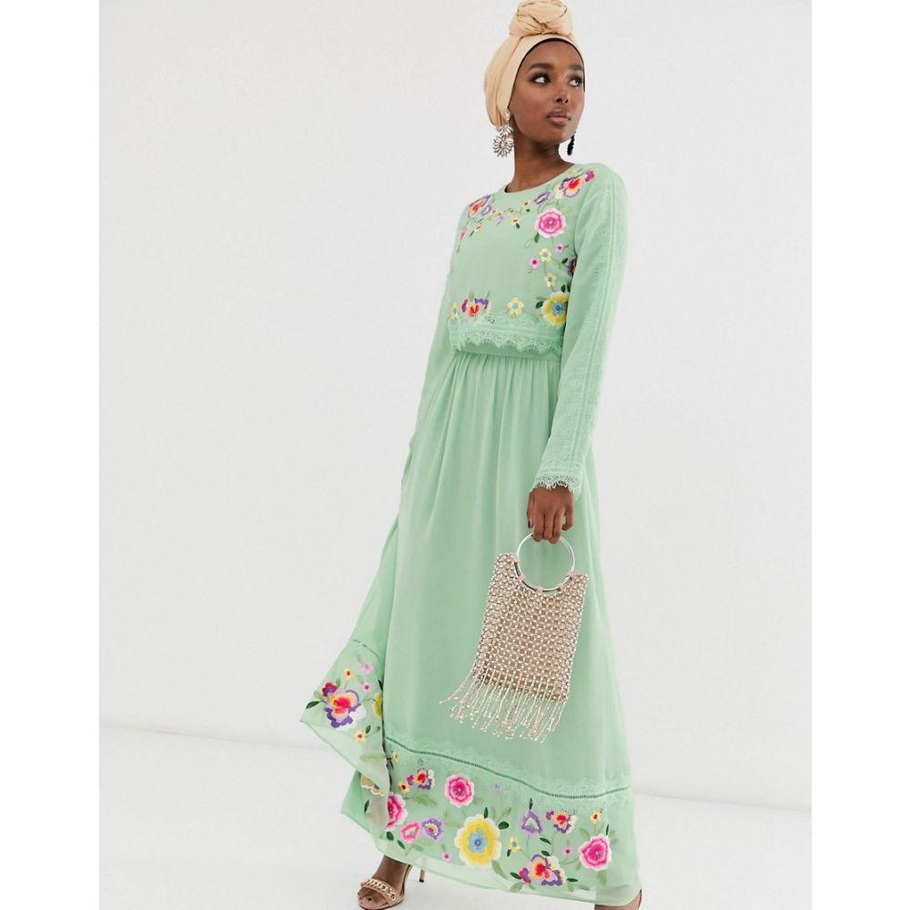 エイソス ASOS DESIGN レディース ワンピース・ドレス ワンピース【double layer embroidered maxi dress】Sage green