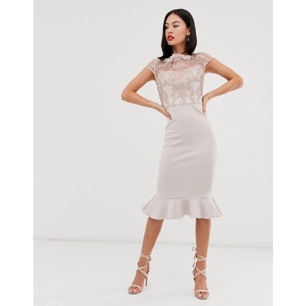 チチロンドン Chi Chi London レディース ワンピース・ドレス ワンピース【lace midi dress with peplum hem in grey】Grey