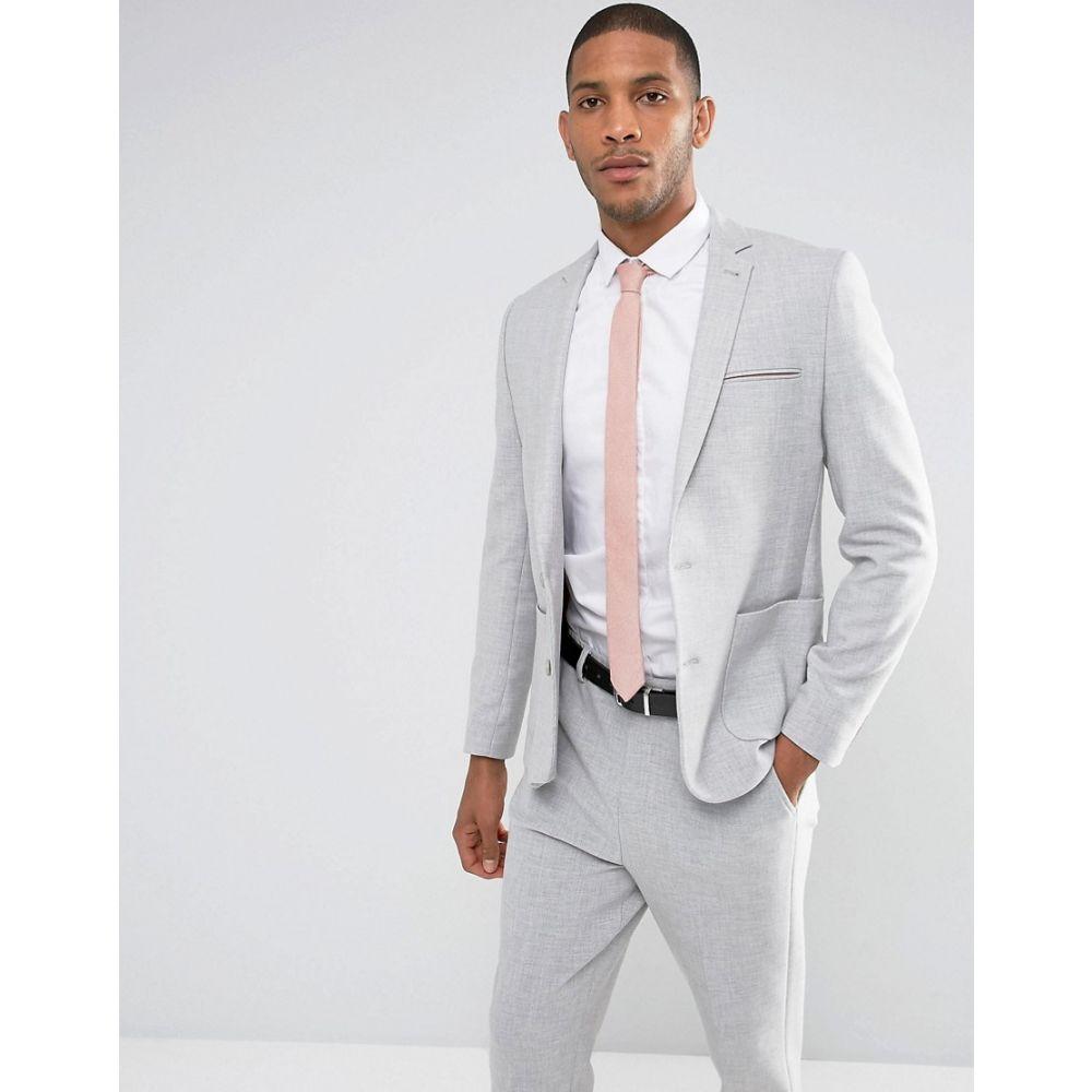 エイソス ASOS DESIGN メンズ アウター スーツ・ジャケット【skinny suit jacket in grey with contrast pink scuba lining】Grey