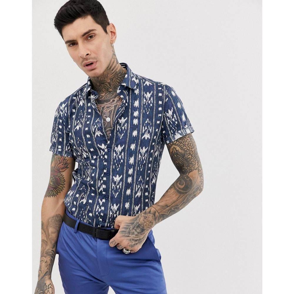 デビルズ アドボケート Devils Advocate メンズ トップス 半袖シャツ【slim fit cotton short sleeve ikat print short sleeve shirt】Navy