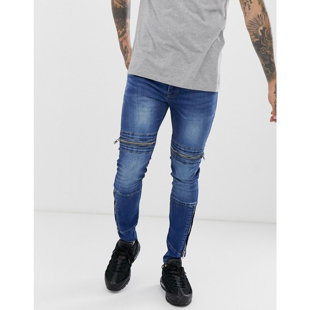 APT メンズ ボトムス・パンツ ジーンズ・デニム【giles zipped jeans in super skinny fit】Mid wash blue