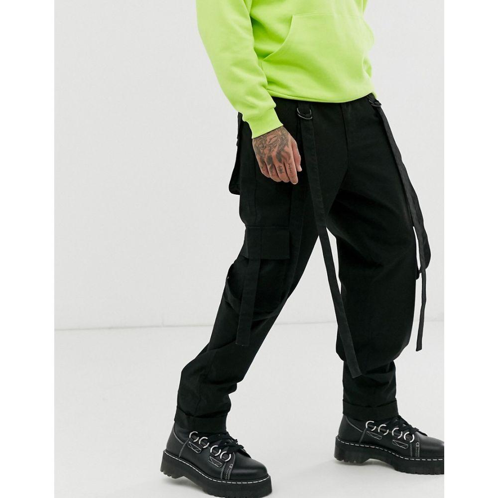 エイソス ASOS DESIGN メンズ ボトムス・パンツ カーゴパンツ【cargo trousers in black with strapping】Black