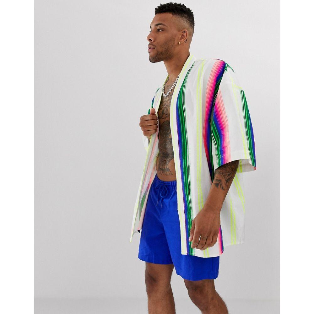エイソス ASOS DESIGN メンズ トップス【festival stripe linen kimono】White