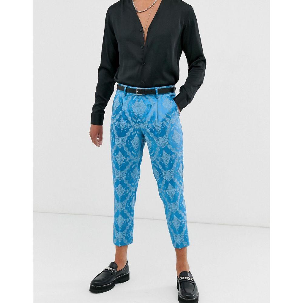 エイソス ASOS EDITION メンズ ボトムス・パンツ スラックス【slim cropped suit trouser in blue tonal jacquard】Blue