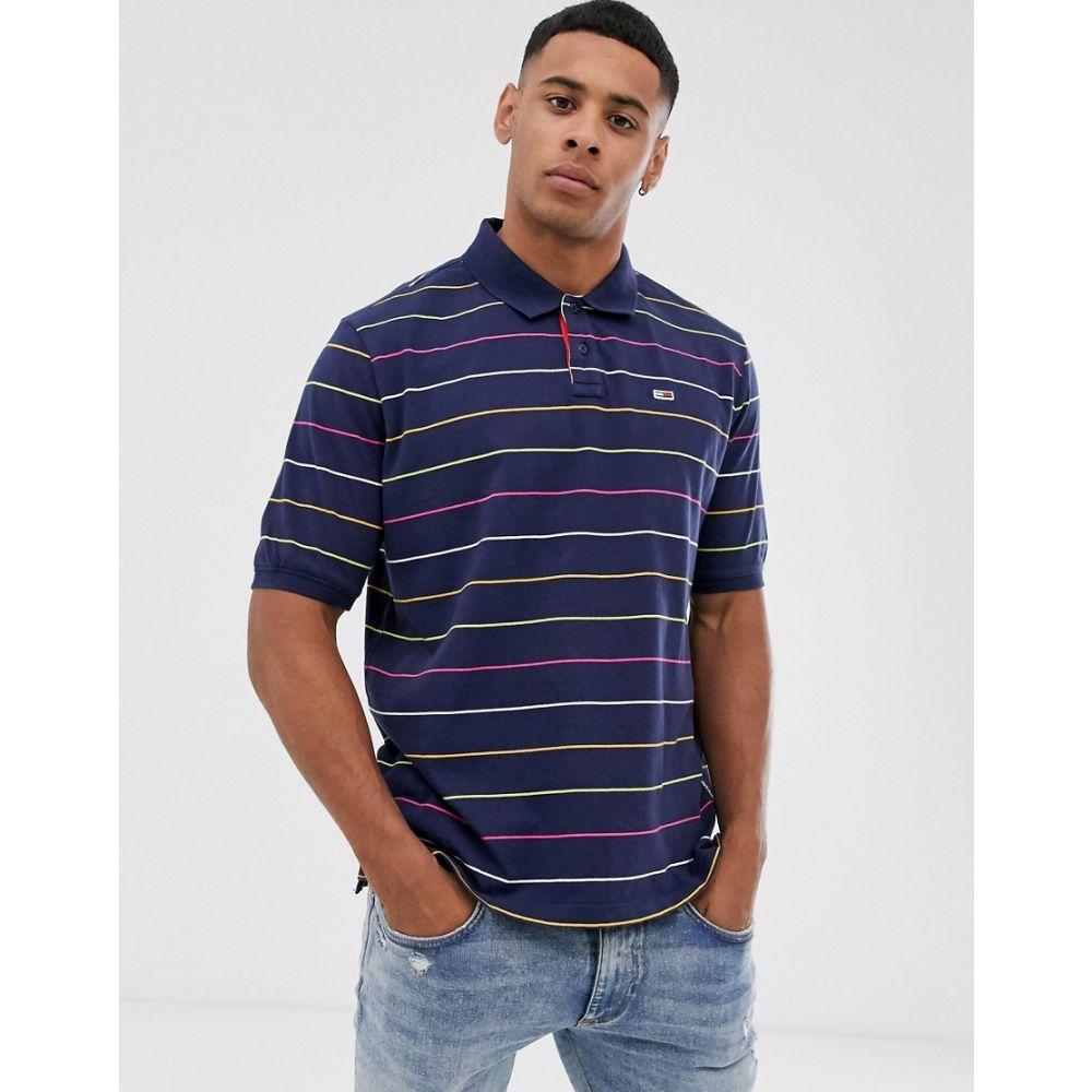 トミー ジーンズ Tommy Jeans メンズ トップス ポロシャツ【fine stripe polo shirt】Navy