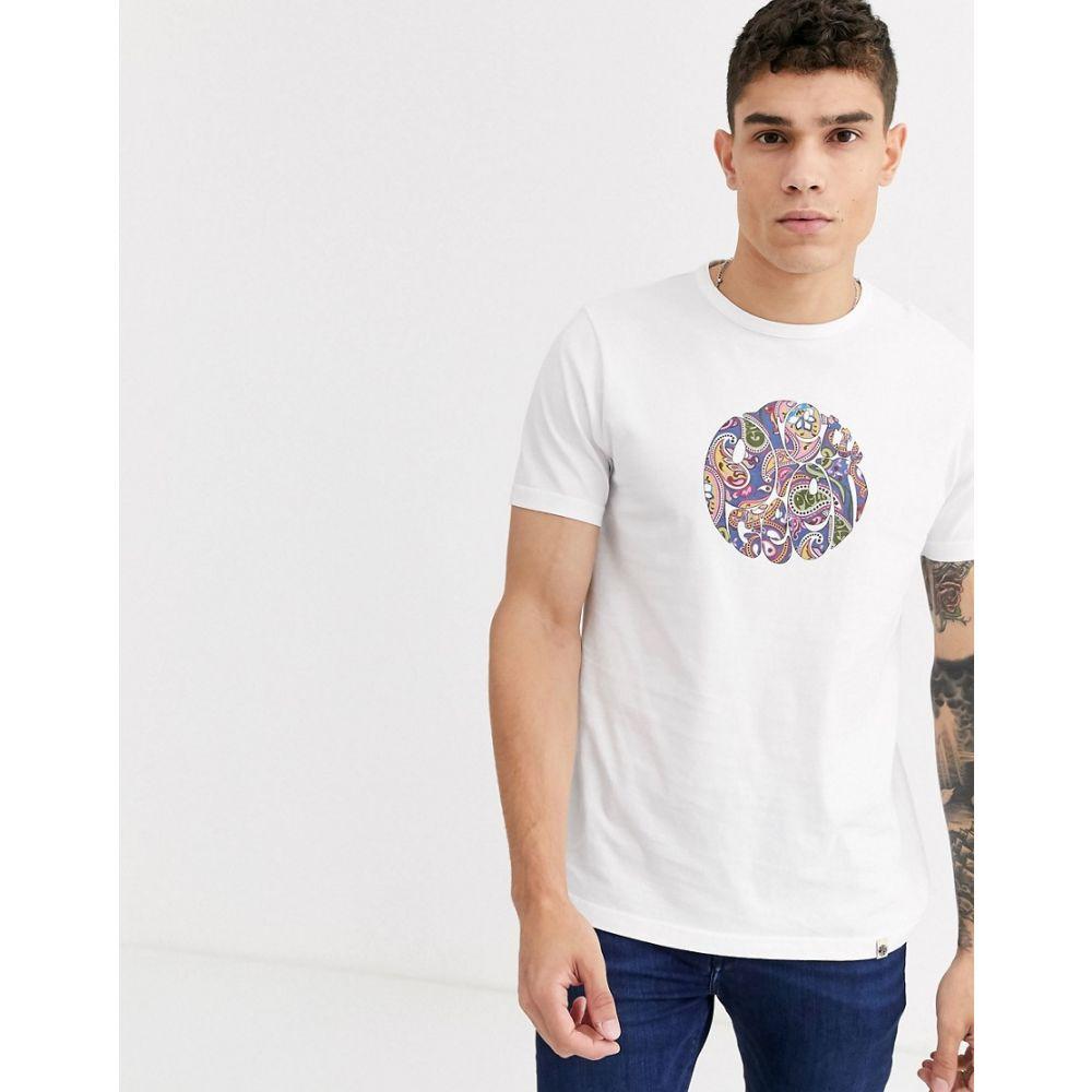 プリティー グリーン Pretty Green メンズ Tシャツ トップス【paisley logo print t-shirt in white】White