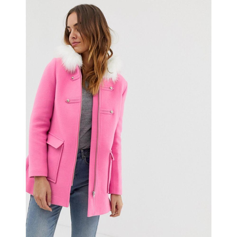 ナフナフ NAF NAF レディース コート アウター【Naf Naf colourful coat with faux fur hood in pink】Pink
