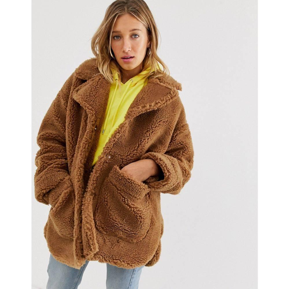モンキー Monki レディース コート テディベアコート アウター【teddy coat】Brown