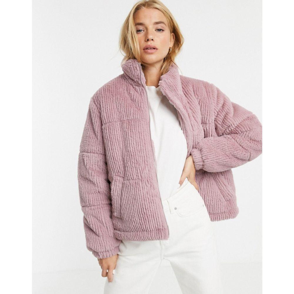 ニュールック New Look レディース ダウン・中綿ジャケット アウター【faux fur cord puffer jacket in light pink】light pink