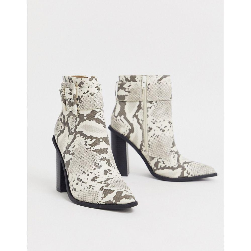 ミスガイデッド Missguided レディース ブーツ ショートブーツ シューズ・靴【ankle boots with buckle detail in snake print】Multi