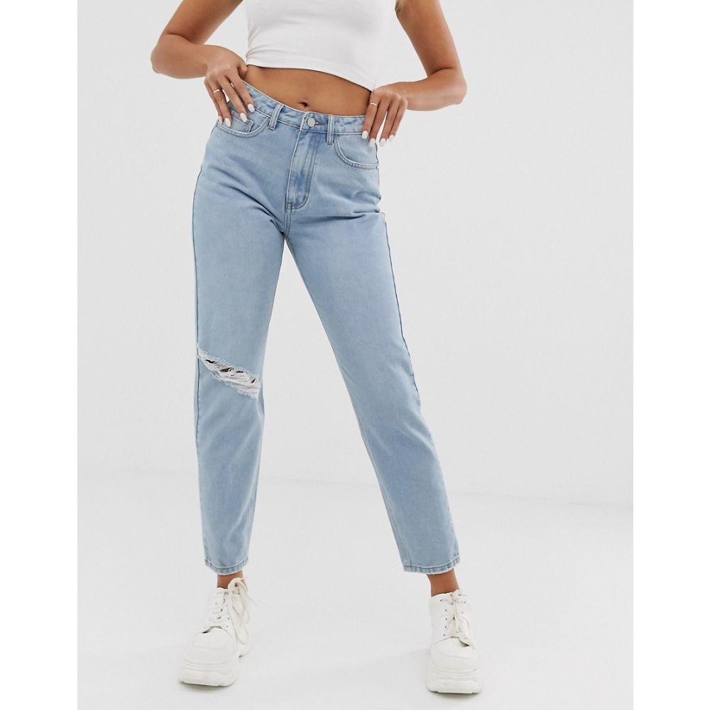 ミスガイデッド Missguided レディース ジーンズ・デニム ボトムス・パンツ【riot mom jeans with rip in stonewash】Blue