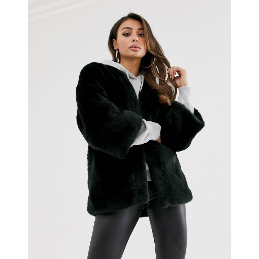 エイソス ASOS DESIGN レディース ジャケット アウター【collarless faux fur jacket in black】Black