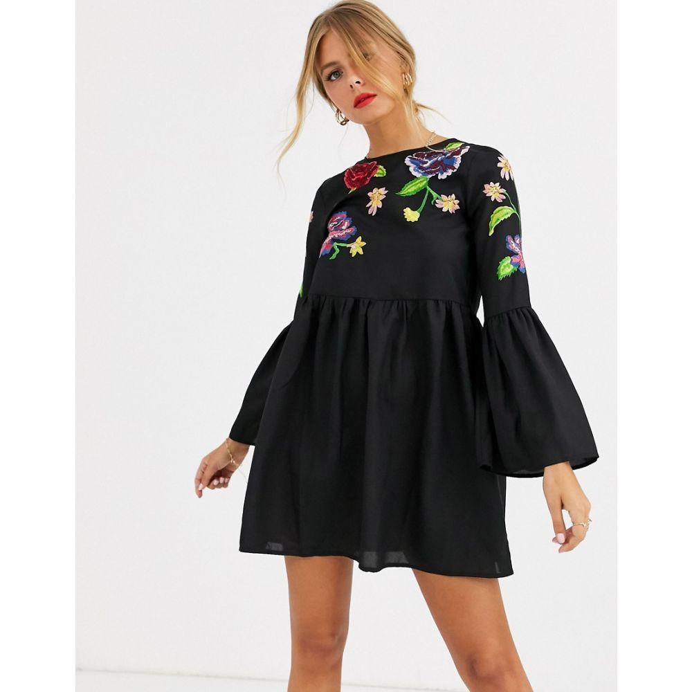 エイソス ASOS DESIGN レディース ワンピース ミニ丈 ワンピース・ドレス【fluted sleeve embroidered smock mini dress】Black