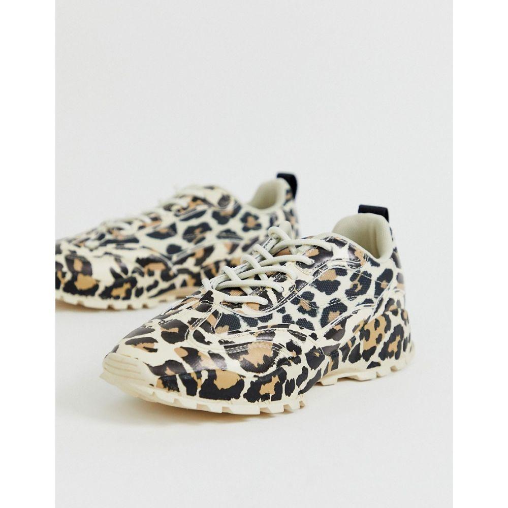 エイソス ASOS DESIGN レディース スニーカー チャンキーヒール シューズ・靴【Dominic chunky trainers in leopard】Leopard drench