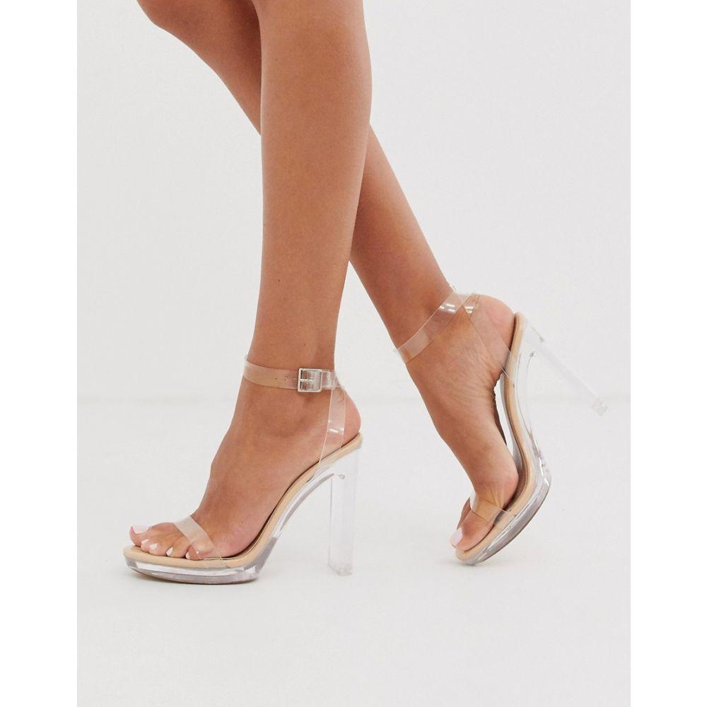 パブリックディザイア Public Desire レディース サンダル・ミュール シューズ・靴【Steal platform perspex heeled sandal in beige】Beige patent