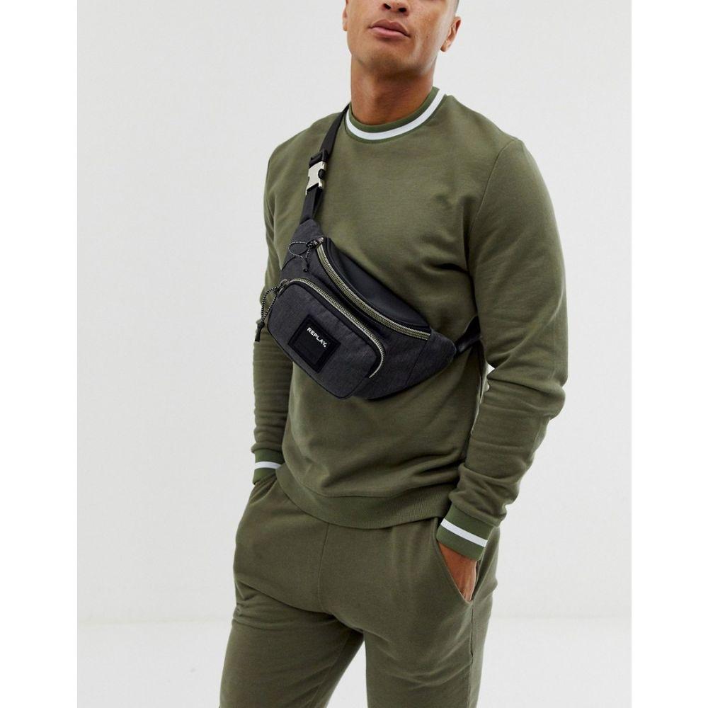 リプレイ Replay メンズ ボディバッグ・ウエストポーチ バッグ【logo cross body bum bag in dark grey】Grey