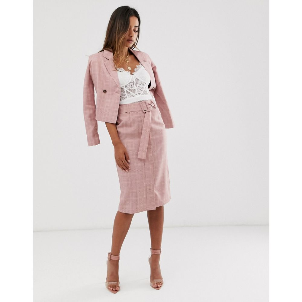 ユニーク21 UNIQUE21 レディース スカート 【Unique21 check belted skirt】Pink