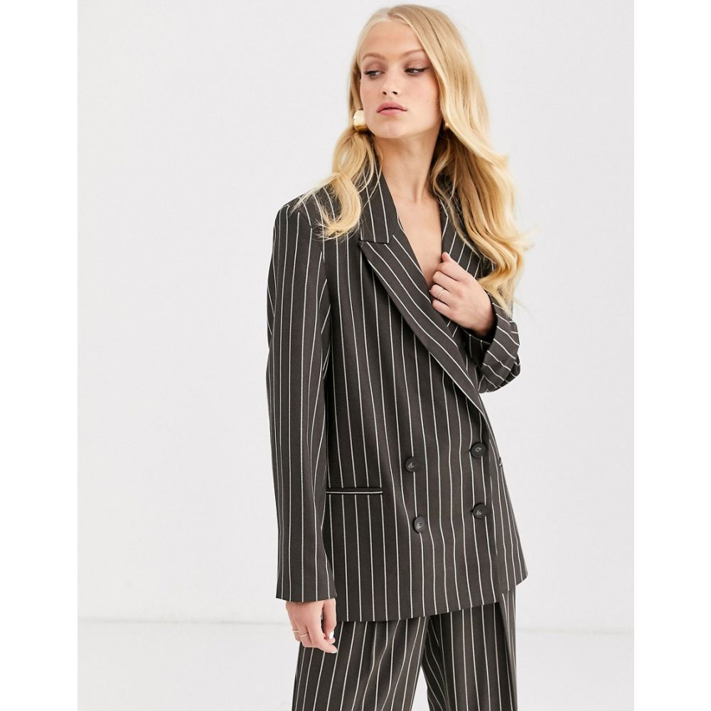 エイソス ASOS DESIGN レディース スーツ・ジャケット アウター【oversized dad suit blazer in pinstripe】Grey stripe