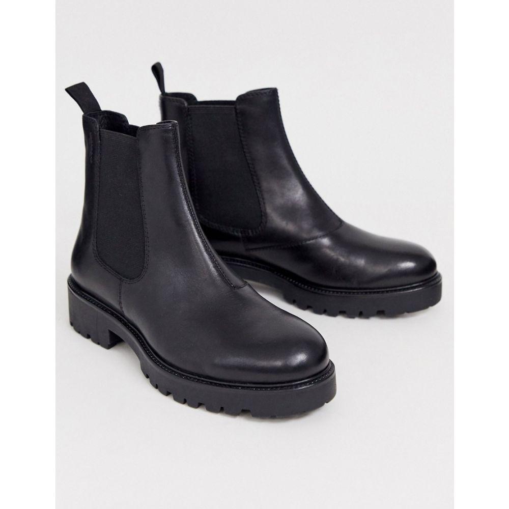 バガボンド Vagabond レディース ブーツ ショートブーツ チャンキーヒール シューズ・靴【Kenova black leather chunky flat ankle boots】Black nubuck