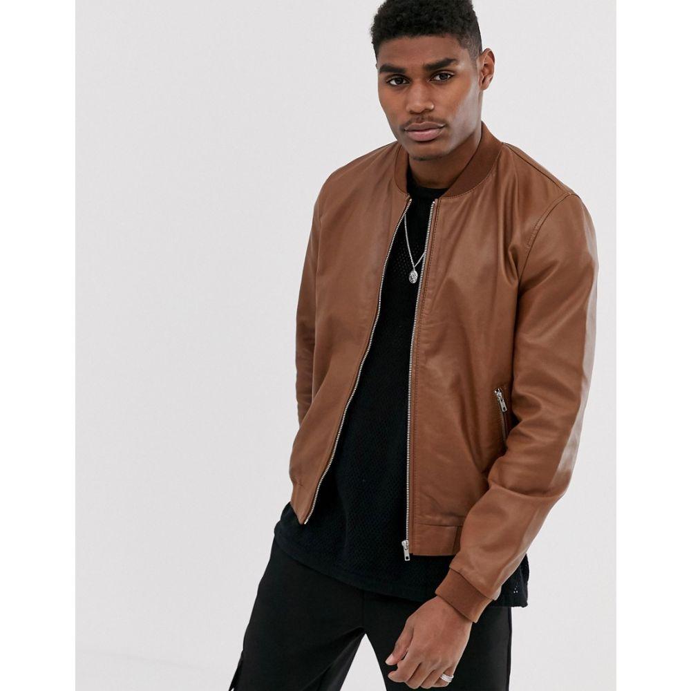 エイソス ASOS DESIGN メンズ レザージャケット ミリタリージャケット アウター【leather bomber jacket in tan】Tan