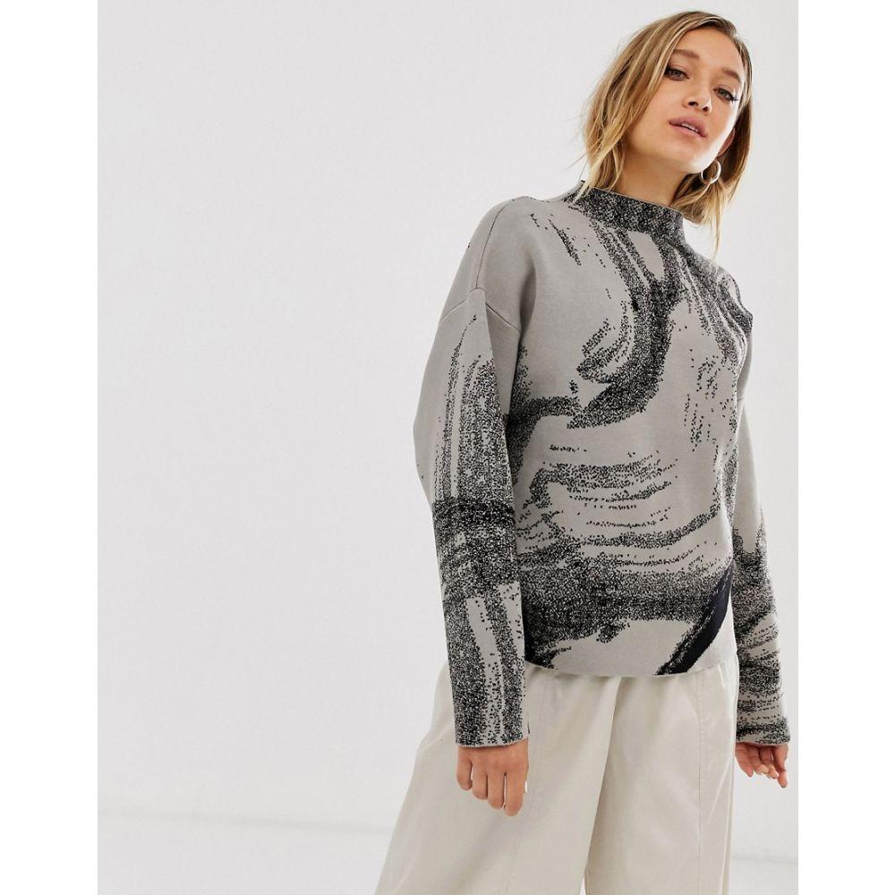 ウィークデイ Weekday レディース ニット・セーター トップス【jacquard sweater in mole w black pattern】Mole w black pattern