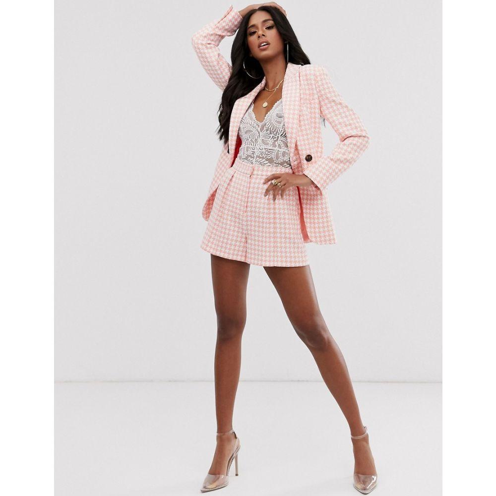 エイソス ASOS DESIGN レディース ショートパンツ ボトムス・パンツ【pink dogstooth slim suit shorts】Check