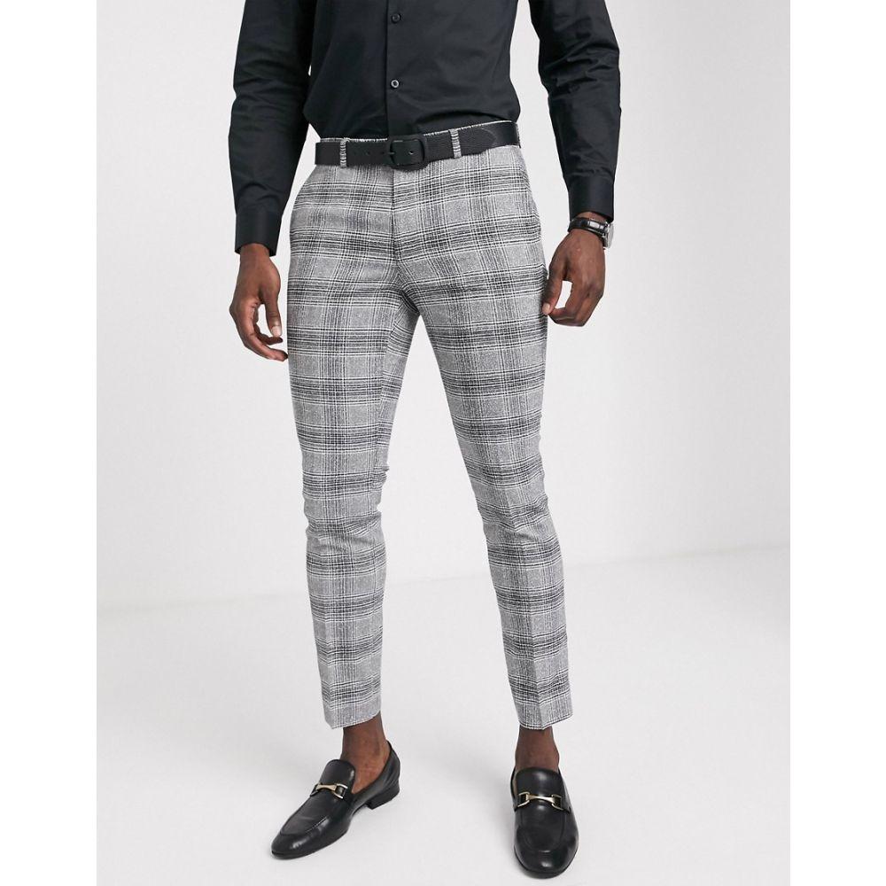 モス ブラザーズ MOSS BROS メンズ スラックス ボトムス・パンツ【Moss London suit trouser black and white check】Black