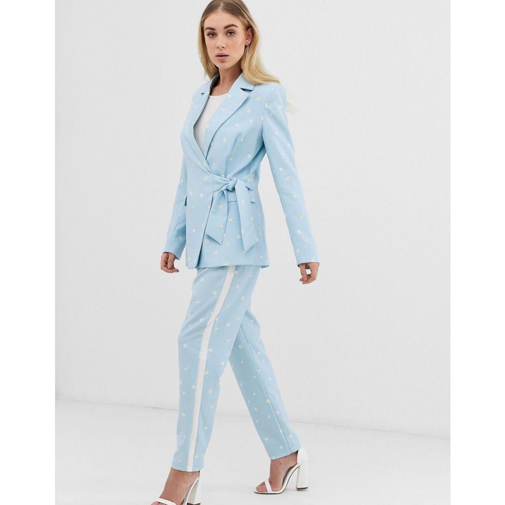 ユニーク21 UNIQUE21 レディース スキニー・スリム ボトムス・パンツ【slim trousers in daisy print co-ord】Light blue daisy