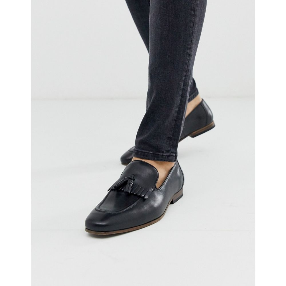 エイソス ASOS DESIGN メンズ ローファー シューズ・靴【loafers in black leather with fringe detail and natural sole】Black