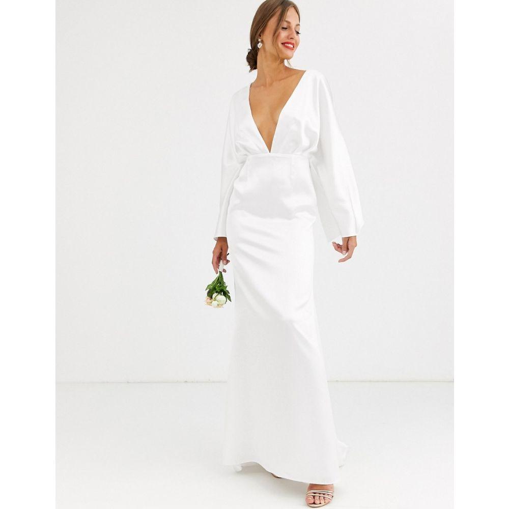 エイソス ASOS EDITION レディース パーティードレス ワンピース・ドレス【kimono sleeve wedding dress in satin】Ivory