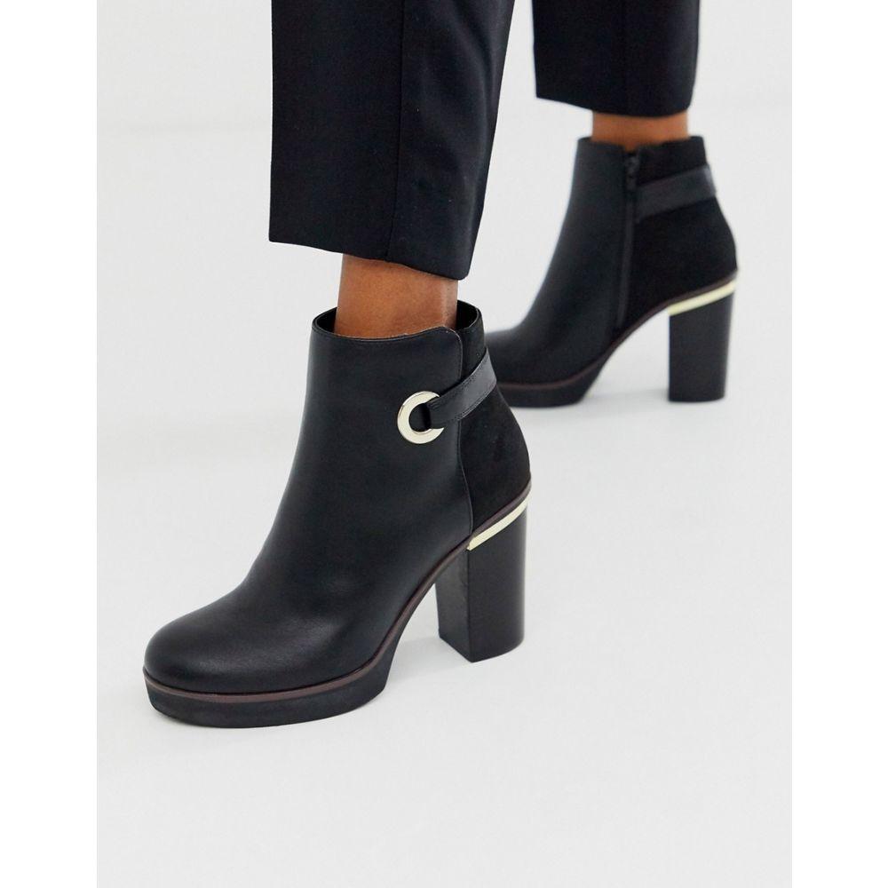リバーアイランド River Island レディース ブーツ ショートブーツ シューズ・靴【platfrom ankle boot with eyelet detail in black】Black