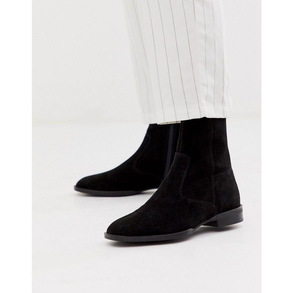 エイソス ASOS DESIGN レディース ブーツ シューズ・靴【Alfie suede sock boots in black】Black suede