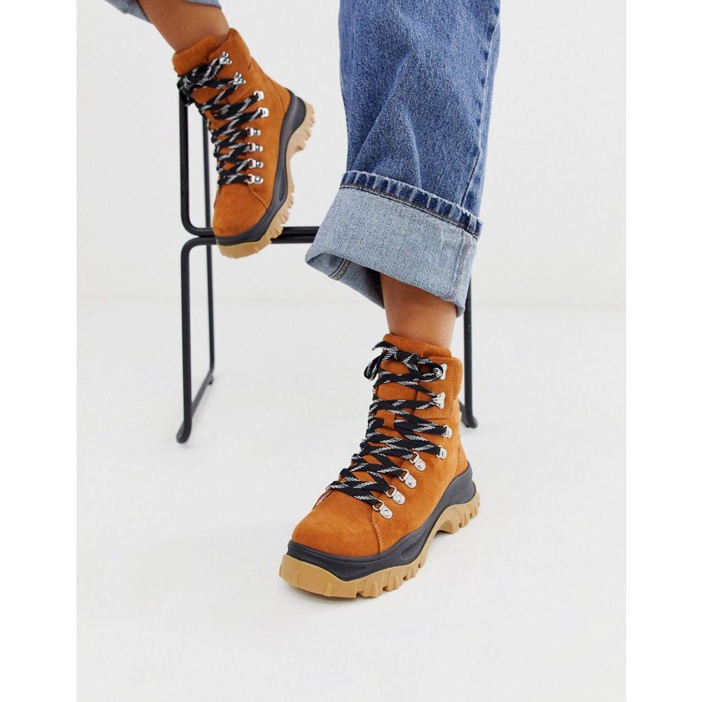 モンキー Monki レディース ハイキング・登山 シューズ・靴【high-top hiking trainers in brown】Brown