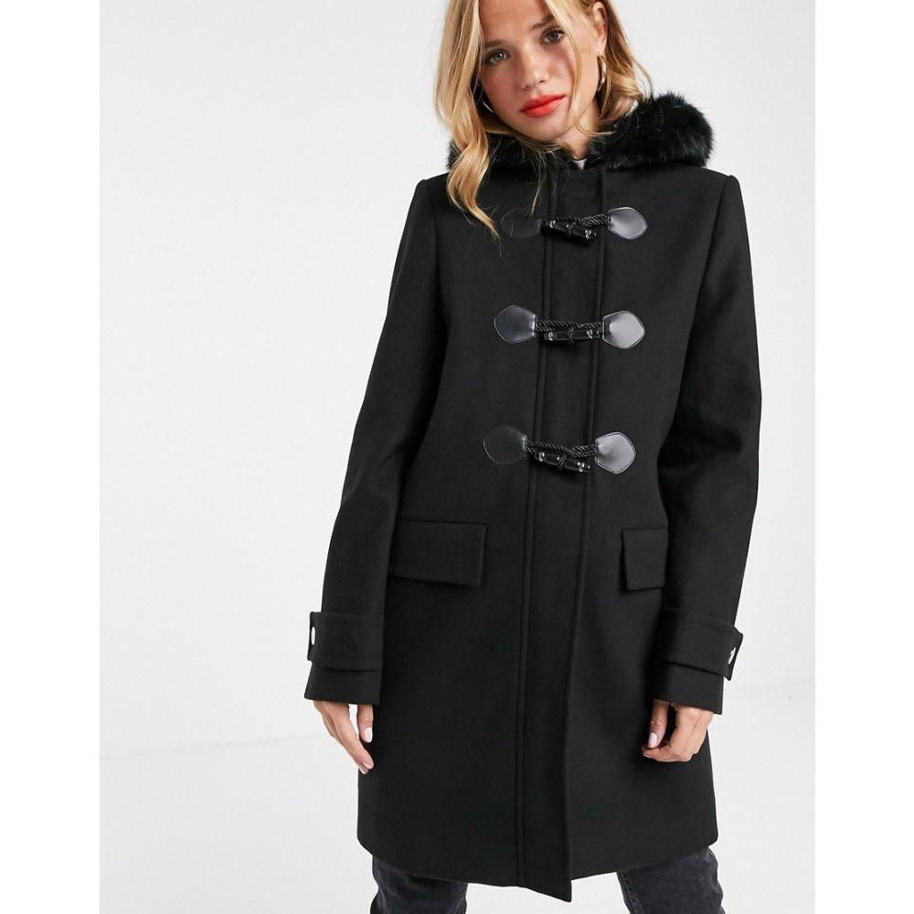 エイソス ASOS DESIGN レディース コート アウター【duffle coat with faux fur trim in black】Black