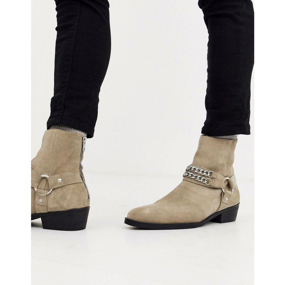 エイソス ASOS DESIGN メンズ ブーツ チェルシーブーツ ウェスタンブーツ シューズ・靴【cuban heel western chelsea boots in stone suede with buckle and chain detail】Stone