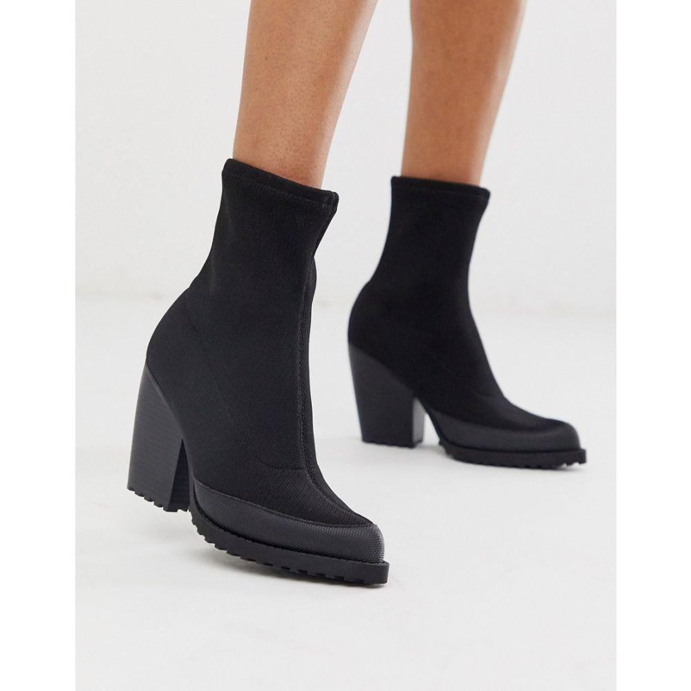 エイソス ASOS DESIGN レディース ブーツ チャンキーヒール シューズ・靴【Rebound flyknit chunky boots in black】Black