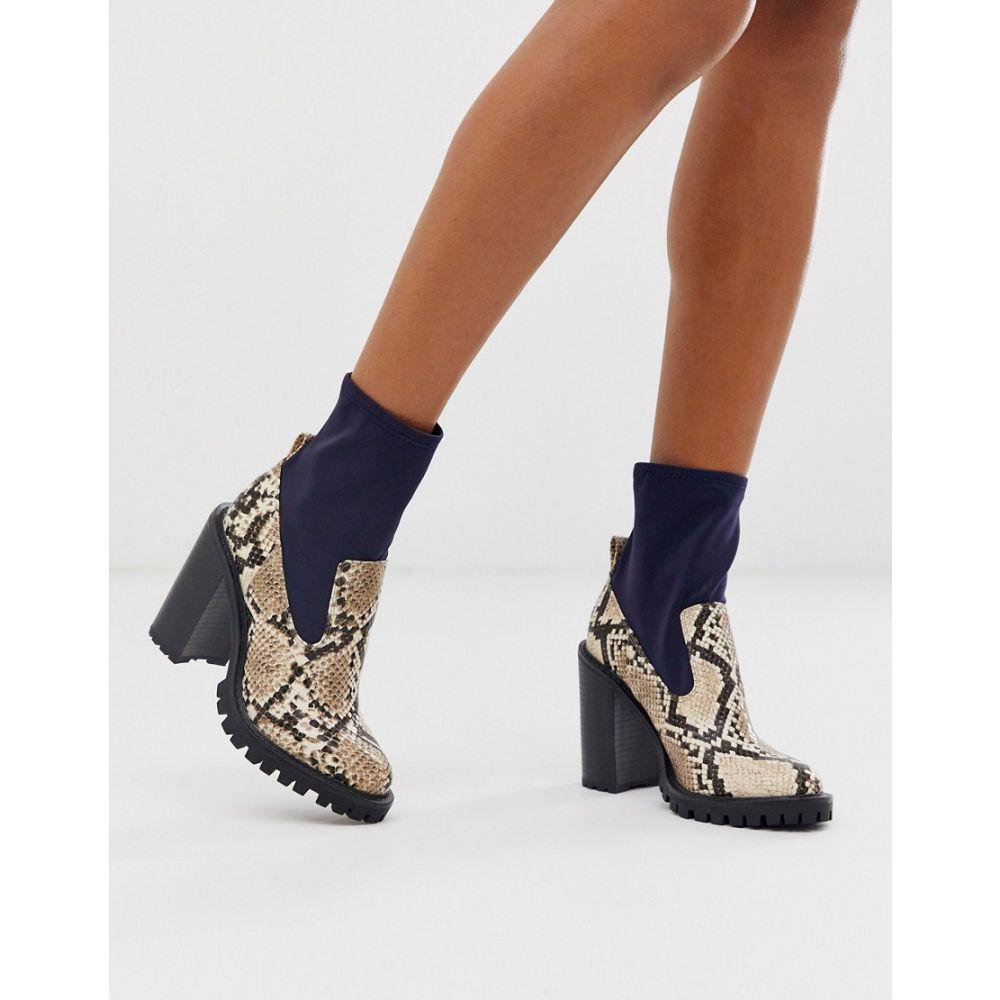 エイソス ASOS DESIGN レディース ブーツ チャンキーヒール シューズ・靴【Evolve chunky sock boots in snake mix】Navy/snake