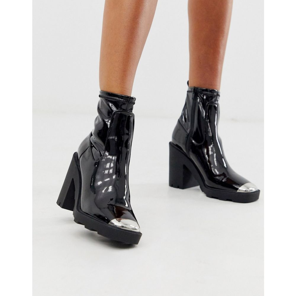 エイソス ASOS DESIGN レディース ブーツ チャンキーヒール シューズ・靴【Exchange chunky sock boots in black patent】Black patent